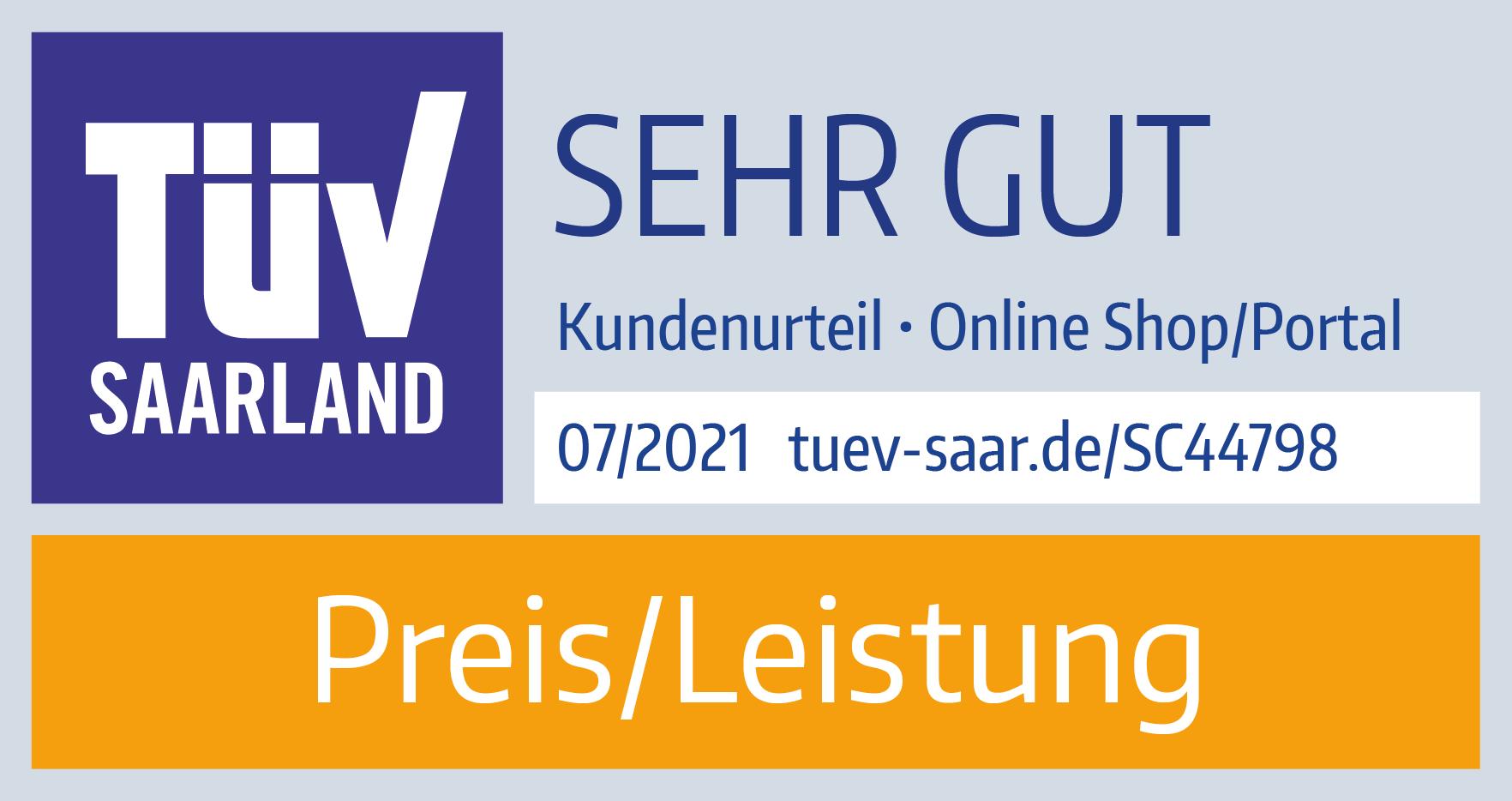 TÜV Saarland - Geprüfte Kundenzufriedenheit 2021